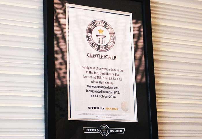 ブルジュ・ハリファAt the Top Skyのギネス世界記録