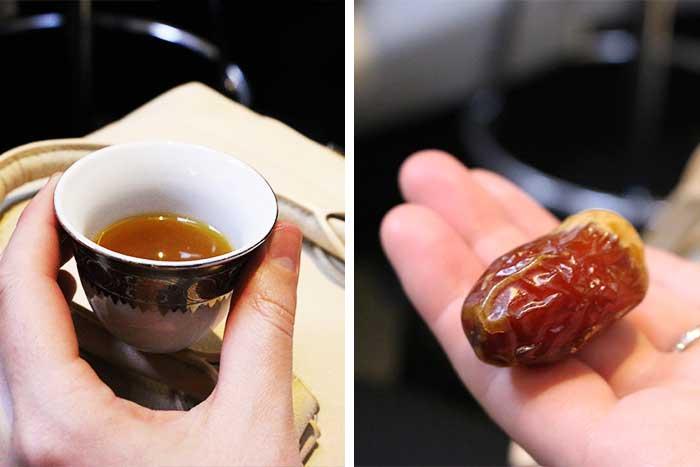 ブルジュ・ハリファで振舞われたアラビアンコーヒーとデーツ