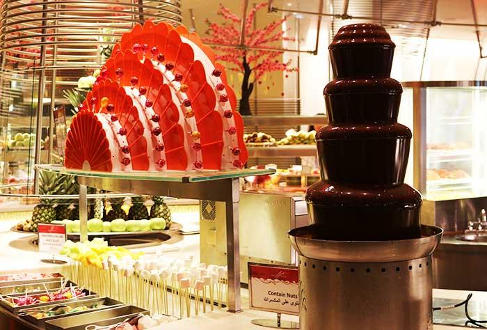 サフランレストランのチョコレートファウンテン