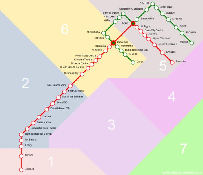 ドバイメトロのゾーンマップ