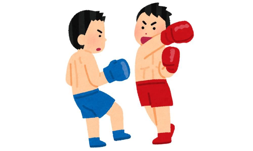 ボクシングでパンチする人